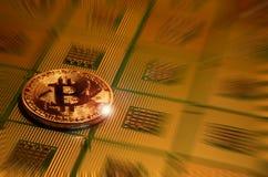 Closeup av fysisk bitcoin över arrangera i rak linje datorCPU-processorer Fotografering för Bildbyråer