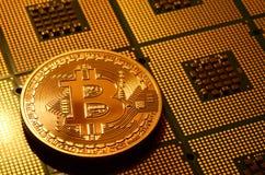 Closeup av fysisk bitcoin över arrangera i rak linje datorCPU-processorer Royaltyfri Bild