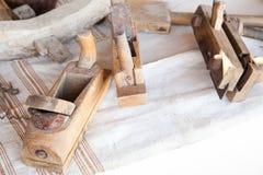 Closeup av gamla träsnickerihyvlare Royaltyfria Foton