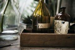 Closeup av glasflaskor royaltyfri foto