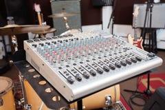 Closeup av Gray Music Mixer Arkivfoton