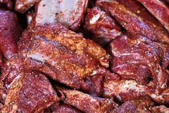 Closeup av grisköttstöd med en torr rub arkivbilder