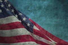 Closeup av grungeamerikanska flaggan Royaltyfri Foto