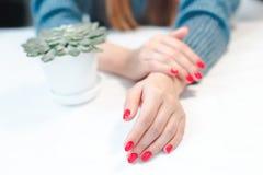 Closeup av händer av en ung kvinna med röd manikyr royaltyfria foton