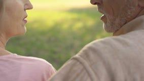Closeup av höga par som har konversation, ömsesidig överenskommelse, affektion arkivfilmer