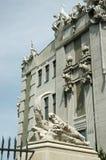 Closeup av huset med chimeras, berömd landmark, Kiev fotografering för bildbyråer