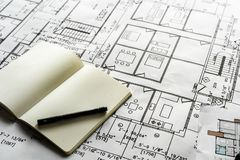 Closeup av husplanritningen royaltyfria foton