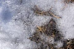 Closeup av iskristaller och snö Vintertextur Royaltyfri Fotografi