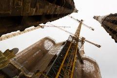 Closeup av konstruktion av Sagrada Familia Arkivfoto