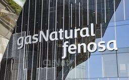 Closeup av kontorsbyggnad av den Gas Natural fenosaen Royaltyfria Foton