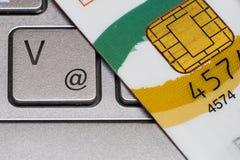 Closeup av kreditkortchipen Arkivbild