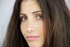 Closeup av kvinnan utan makeup Royaltyfri Bild