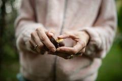 Closeup av kvinnliga händer som skalar en kastanj arkivfoto