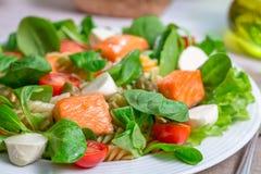 Closeup av laxen med grönsaker och grönsallat Royaltyfri Bild