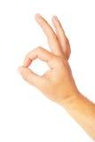Closeup av mans hand som gör en gest - visningteckenok Arkivfoto