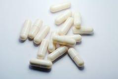 Closeup av medicinska preventivpillerar Fotografering för Bildbyråer