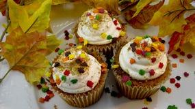 Closeup av muffin för höstsidor Royaltyfri Foto