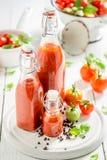 Closeup av nya ingredienser för ketchup som göras av tomater fotografering för bildbyråer