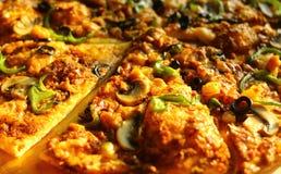 Closeup av pizza Arkivfoton