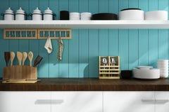 Closeup av räknare- och köktillbehör Royaltyfri Fotografi