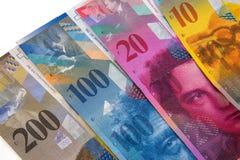 Closeup av schweizisk francsedlar royaltyfri foto