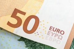 Closeup av sedeln för euro 50 Fotografering för Bildbyråer
