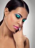 Closeup av skönhet med makeup royaltyfri bild