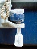 Closeup av skyddsremsan för bult för fraktbehållare för säkerhet Arkivfoto