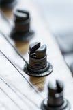 Closeup av stämmare för elektrisk gitarr för tappning Arkivbild