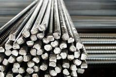 Closeup av stål Stänger eller stänger, att förstärka betong Royaltyfri Bild