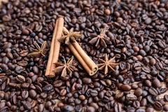 Closeup av stjärnaanis, nya doftande vaniljfröskidor, kanelbruna pinnar och kaffekorn och att krydda ingredienser för att laga ma fotografering för bildbyråer
