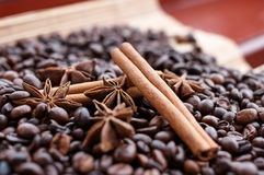 Closeup av stjärnaanis, nya doftande vaniljfröskidor, kanelbruna pinnar och kaffekorn och att krydda ingredienser för att laga ma arkivfoto