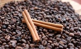 Closeup av stjärnaanis, nya doftande vaniljfröskidor, kanelbruna pinnar och kaffekorn och att krydda ingredienser för att laga ma royaltyfri fotografi