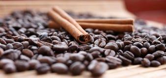 Closeup av stjärnaanis, nya doftande vaniljfröskidor, kanelbruna pinnar och kaffekorn och att krydda ingredienser för att laga ma royaltyfria bilder