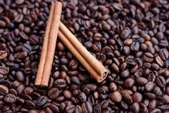 Closeup av stjärnaanis, nya doftande vaniljfröskidor, kanelbruna pinnar och kaffekorn och att krydda ingredienser för att laga ma royaltyfri bild
