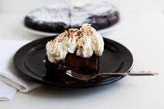 Closeup av stycket av chokladkakan med en kräm fotografering för bildbyråer