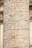 Closeup av Trajans kolonnlättnad Piazza Venezia Arkivfoto