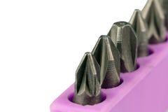 Closeup av uppsättningen av isolerade skruvmejselbitar Fotografering för Bildbyråer