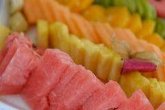 Closeup av vattenmelonskivor med färgglad bakgrund royaltyfria foton