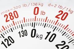 Closeup av viktskalan kg och pund royaltyfria bilder