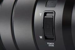 Closeup av zoomknappen på en lins för digital kamera Fotografering för Bildbyråer