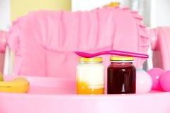Closeup of baby food Stock Photos