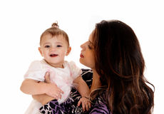 Closeup of baby with mom. Stock Photos