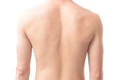 Closeup back of man on white background beauty healthy skin care Royalty Free Stock Photography