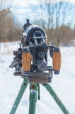 Closeup of the back of a Russian machine gun. Royalty Free Stock Image