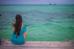 Closeup back view of long hair woman. Sitting in blue beach dress looking out towards blue ocean and sky Royalty Free Stock Image
