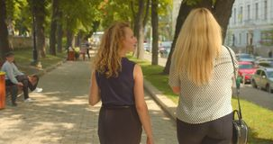 Closeup back view portrait of two female friends walking in park outdoors stock video footage