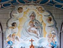 Closeup of backdrop painting at Italian Chapel, Orkneys, Scotlan Stock Photos