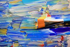 Closeup background of brush and palette Stock Photo