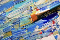 Closeup background of brush and palette. royalty free stock photo